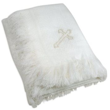 Stephan Baby Christening/blessing Woven Satin Blanket With Embroidered Cross, White (Discontinued by Manufacturer)