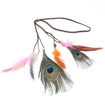 Vovotrade Bohemia Peacock Feather Headband Beads Hair Rope Carnival Festival Headdress