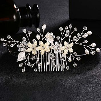 Miallo Bridal Hair Comb Headpiece Crystal Hand Matte Petals for Women (Silver)