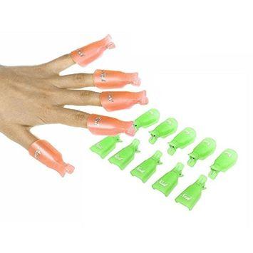 Susenstone®10PC Plastic Nail Art Soak Off Cap Clip UV Gel Polish Remover Wrap Tool (Orange)