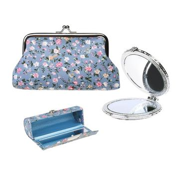 Kloud City Women's Set of 3 Floral Cosmetic Organizer Kiss-Lock Clasp Clutch Purse Butterfly Closure Mirror Snap Button Lipstick Case