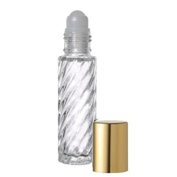 10 .33 Fl. Oz./10ml Swirled Glass Roll on Bottles Refillables with Balls and Metallic Gold Caps Perfume Essential Oil Roller Bottles, Rollons Vials