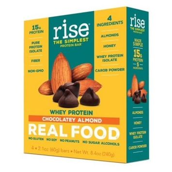 Rise Bar Whey Protein Bar - Chocolatey Almond - 4ct