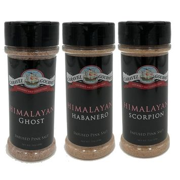 Himalayan Spicy Pepper Infused Pink Ancient Salt Shaker 3-pack - A Pure, All-Natural Whole Food Salt Blended with Delicious Spicy Pepper - Kosher, Gluten-Free, Non-GMO, No MSG Seasoning - 15 total oz. [Spicy Pepper]