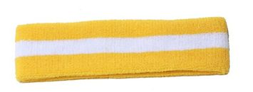 Star New Striped Sports Single Headband- Yellow/White