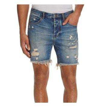 MAN X ONE TEASPOON NEW Blue Men 30 Destructed Ripped Denim Shorts