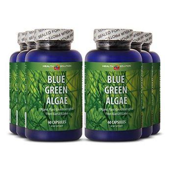 Spirulina chlorella powder organic - BLUE GREEN ALGAE - boost immune function (6 bottles)