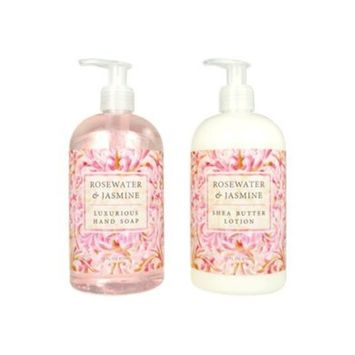 Greenwich Bay Trading Hand Soap & Hand and Body Lotion, 16 Ounce, 2 pack Bundle Set (Rosewater Jasmine)