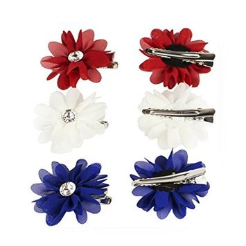 Lux Accessories Red White and Blue Americana Flower Hair Clip Set