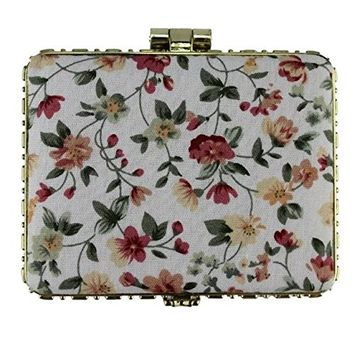 EYX Formula Chinese Embroidered Cloth printing makeup mirror for women,Rectangle Retro Double-sided folding Portable Pocket vanity mirror for Traveling