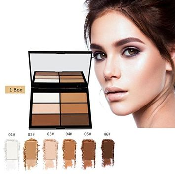 Highlighter Powder, Hatop 6 Color Highlighter Face Powder Contour Kit Concealer Palette Bronzer Makeup