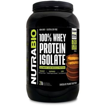 NutraBio 100% Whey Protein Isolate (Chocolate Peanut Butter, 2 Pounds)