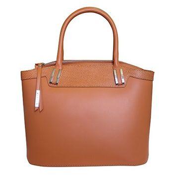 Nicoli 'Eleganza' Designer Italian Leather Tote Bag Handbag - Tan