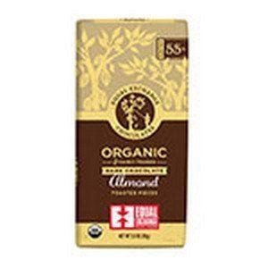 Equal Exchange 231208 2.8 oz 55 Percent Cacao Organic Dark Chocolate Almond Bars 12 Bars Per Box