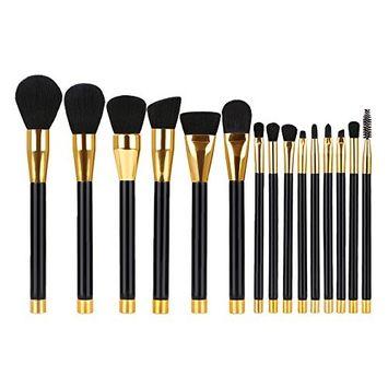 Hotrose Makeup Brushes 15pcs Professional Makeup Brush Set - Synthetic Cosmetic Blending Contour Eyebrow Foundation Kabuki Makeup Brush Kits (black)