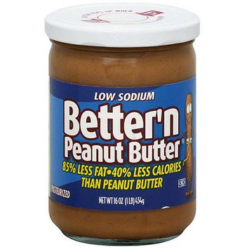 Better'n Peanut Butter Low Sodium Peanut Butter Spread, 16 oz (Pack of 6)