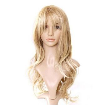 DYMADE Lady Long Curly Wavy Light Blonde Heat Resistant Tilted Frisette Fluffy Wig Wigs