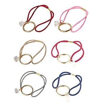 6 Pcs Elastic Hair Ties Hair Ropes Styling Ponytail Hair Holder Hair Accessories with Gold Plated Ring for Girls Hair Decoration