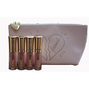 BareMinerals Buxom Mini Full-on Lip Polish in 'Celeste' 2ml/0.07oz - Set of 4 & 'Best Friends' Make-Up Bag