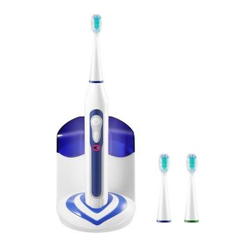 Electric Toothbrush, ICOCO Sonic Electric Toothbrush with UV Sanitizer Cordless Rechargeable High Powered 40,000vpm Deep Clean 3 Replacement Brush Heads 5 Brushing Modes Waterproof (White & blue)