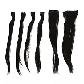 SODIAL(R) 6 Pieces Black Straight Clip in Hair Weft Extensions