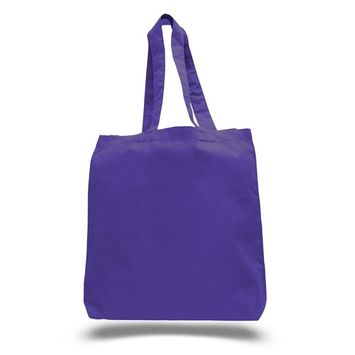 (3 Pack) Set of 3 High Quality Cotton Tote Bags Wholesale with Bottom Gusset (Purple)