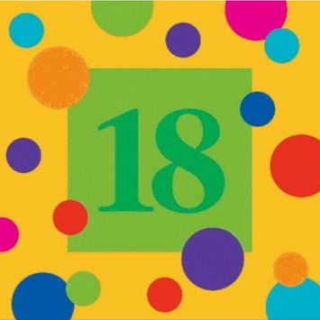 Birthday Stripes 18th Birthday 3-Ply Beverage Napkins 16 Per Pack