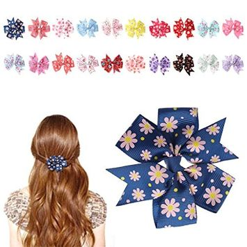 EA-STONE 20Pcs Baby Girls Hairpin Headwear Accessories,Bowknot Boutique Hair Clips Bows