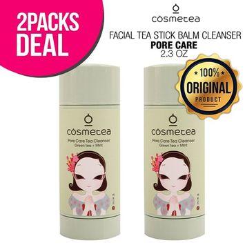 2-PACK COSMETEA Facial Tea Stick Balm Cleanser 2.3oz, Pore Care Tea Cleanser (Green Tea & Mint), K-Beauty Stick Cleanser