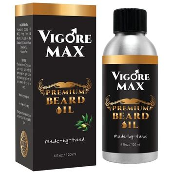 VIGORE MAX Best Natural Men's Beard Oil (4 fl. oz.) Handcrafted, Organic Moisturizer & Conditioner | Promote Thicker, Healthier Facial Hair, Mustache | Reduce Frizz