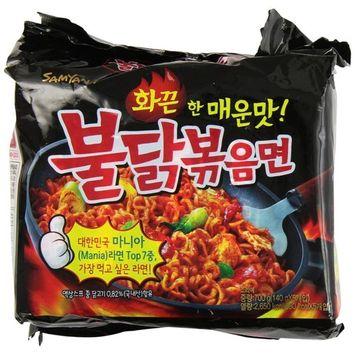 KC Commerce Samyang Hot Chicken Ramen Noodle 140g 10 Packs Combo Set With FREE Korean Kimchi & Chopstick (Regular & Double Spicy Combo)