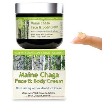 Maine Chaga Face & Body Cream, Large 4 oz Value Size, Made With Natural Ingredients, Lightweight for the Face Yet Moisturizing for the Whole Body
