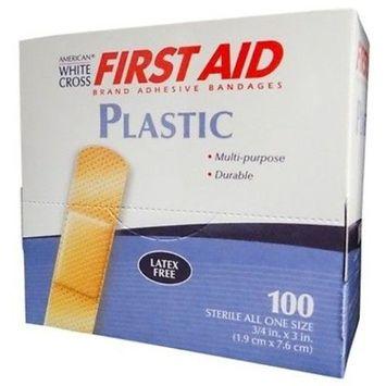 American White Cross Plastic Adhesive Strips, Sterile, 3/4 X 3, 100/Box, 5 Box (500 Count)