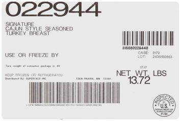 Supervalu® Signature Cajun Style Seasoned Turkey Breast 1 ct Package