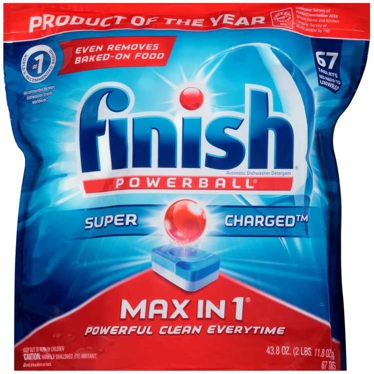 Finish® Powerball® Super Charged™ Max in 1® Automatic Dishwasher Detergent Tablets 67 ct Bag