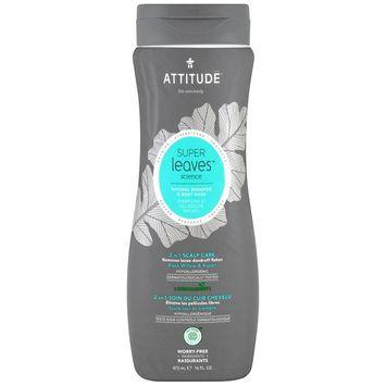 ATTITUDE, Super Leaves Science, Natural Shampoo & Body Wash, 2 in 1 Scalp Care, Black Willow & Aspen, 16 oz (473 ml) [Scent : Black Willow & Aspen]