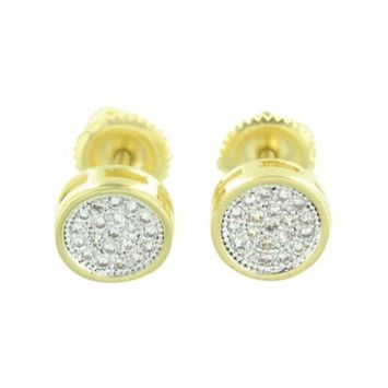 Master Of Bling - Round Design Mens Earrings Screw Back 14k Yellow Gold Finish Lab Created Cubic Zirconias Classy