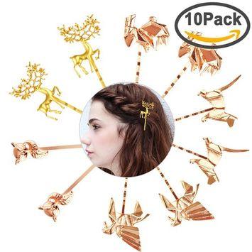 Hair Clips,Exacoo 10 Pieces Cartoon Hair Clips Gold Barrettes Clamps Animal Style Metal Hairpin Hair Clip Claw Barrettes Bobby Pin Bride Headwear Edge Clip...