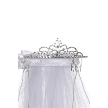 Cinderella Couture Girls Silver White Crystal Butterfly Ribbon Tiara Wired Veil