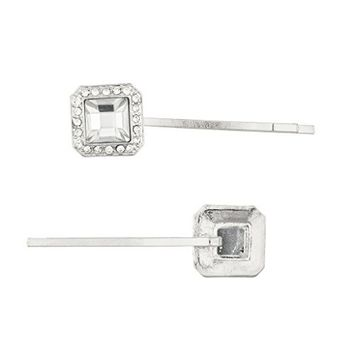 Lux Accessories Silvertone Special Occasion Square Stone Bobby Pin Set (2PCS)