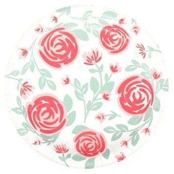 20ct Floral Disposable Dinner Plates - Spritz™