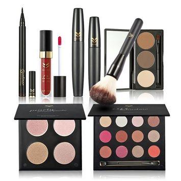 Huamianli 6Pcs Makeup Set Highlighter Shimmer Stick Lipstick Eyeliner Mascara Eyebrow Powder Eyeliner Pen