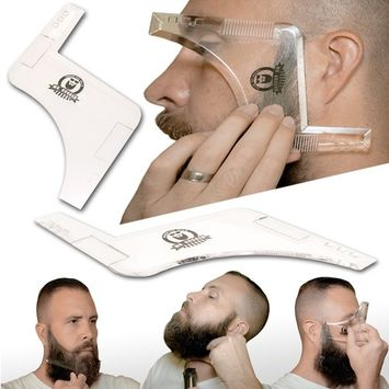 Mr Rugged Beard Shaping Tool - Clear Template Guide for Edging Beards and Goatees - Also Ideal Haircut Template for Sideburns and Hairline - Built-in-Comb