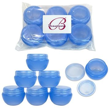 Beauticom 6 Pieces High Quality 10 Gram 10 ml (0.3 oz) Frosted Blue Plastic Round Cream Salve Cosmetic Sample Jars with Liners