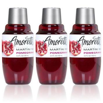Amoretti Premium Martini Cocktail Mix Minis, Pomegranate, 3- Pack 3.4 Fluid Ounce [Pomegranate]