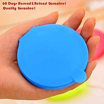 1Pc Lady&Girls Candy Color Silicone Cover Round Hand Pocket Cosmetic Mini Mirror (Color May Vary)