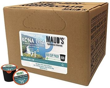 Maud's Coffee Maud's Gourmet Coffee Pods - Kona Lisa, 100-Count Single Serve Coffee Pods - Richly Satisfying Premium Arabica Beans, California-Roasted - Kcup Compatible, Including 2.0
