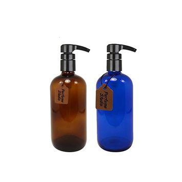 Perfume Studio 16oz Glass Pump Set: Professional Amber/Blue Cobalt Glass Pumps
