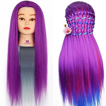 Neverland Beauty Synthetic Hair Rainbow Color Cosmetology Mannequin Manikin Training Head Model 24 Inch for Practice with a Table Clamp