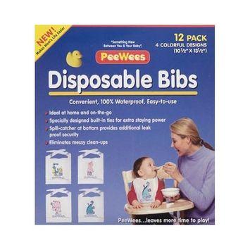 PeeWees 12 Pack Disposable Waterproof, Printed Bibs